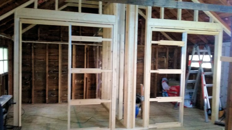 lower framing aand pocket doors